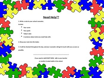 "School Counselor ""Need Help?"" Locker Signs (Editable)"