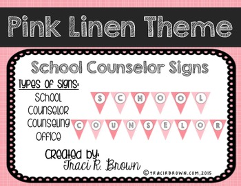School Counselor Office Pink Linen Theme Signs