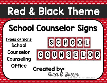 School Counselor Office Red & Black Theme Signs