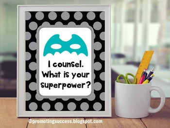 School Counselor Polka Dot Superpower Poster Gift of Couns
