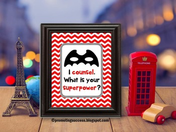 School Counselor Superpower Poster Office Decoration ~ Gre