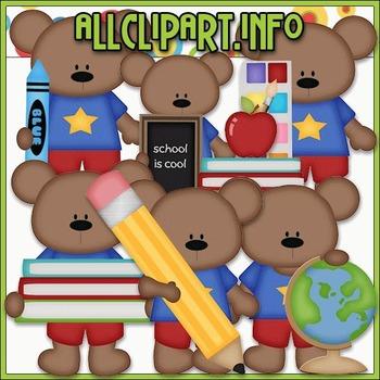 BUNDLED SET - School Days Bears 1 Clip Art & Digital Stamp Bundle