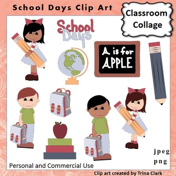 School Days Clip Art  Color  personal & commercial use