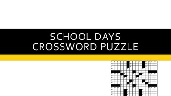 School Days Crossword Puzzle