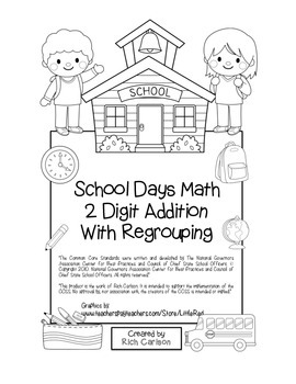 """""""School Days Math"""" 2 Digit Addition With Regrouping - Comm"""