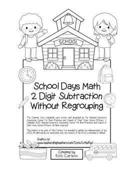 """""""School Days Math"""" 2 Digit Subtraction Without Regrouping"""