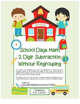 """""""School Days Math"""" 2 Digit Subtraction Without Regrouping!"""