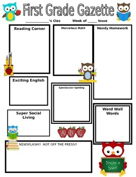 School Daze Owl Classroom Newsletter