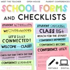 Classroom Forms and Checklists Editable