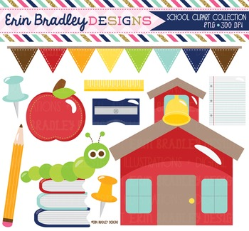 School House Clipart - Back to School Digital Clip Art Graphics
