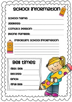 School Information Recording Sheet for Relief Teachers