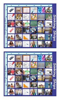 School Items, Places and Subjects Battleship Board Game