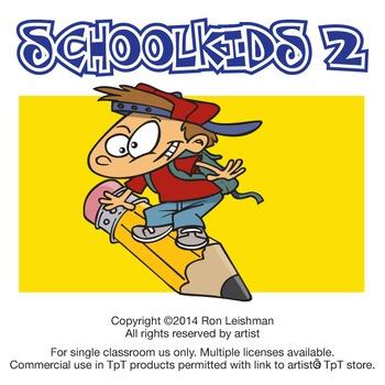 School Kids Cartoon Clipart Volume 2