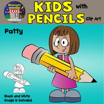 School Kids Clip Art {Kids with Pencils} - Patty