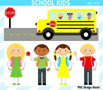 School Kids Clip Art for Personal and Commercial Use