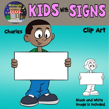 School Kids Holding Signs Clip Art - Charles