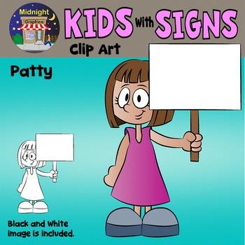 School Kids Holding Signs Clip Art - Patty 1 hand