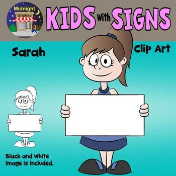 School Kids Holding Signs Clip Art - Sarah