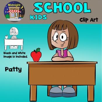 School Kids Clip Art - Patty at Desk