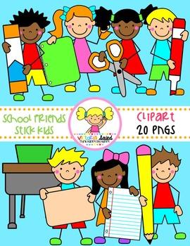School Kids {Stick Kids Clipart}