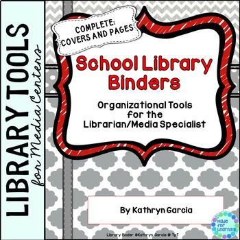 School Library Binder/Planner: Gray/Red