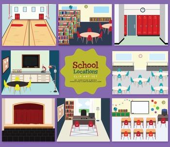 School Locations Clip Art Set