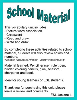 School Material - ESL or young learners