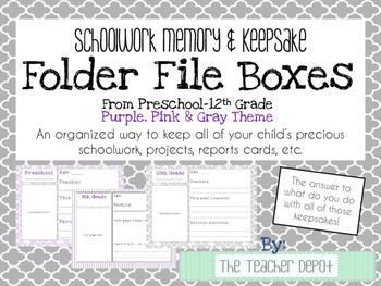 School Memory/Keepsake Box - Preschool-12th Grade - Purple