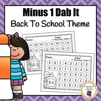 School Minus 1 Dab It Worksheets