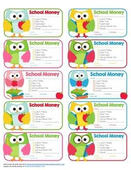 School Money Envelope Labels