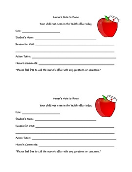 School Nurse Pass, Notes to Home, Notes with Apple wearing