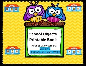 School Objects Book - Students Cut, Paste, Write
