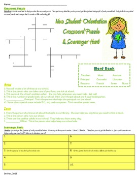 School Orientation Crossword Puzzle and Scavenger Hunt- Fo