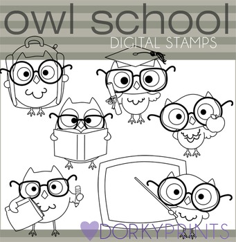 School Owls Blackline Clipart