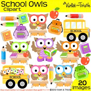 School Owls Clipart School Bus Student Teacher Backpack Pe
