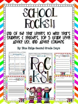 School Rocks: End of Year Letters/Activities To Next Year'