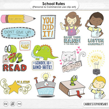 School Rules, Classroom Rules Clip Art, Book Worms, Teache