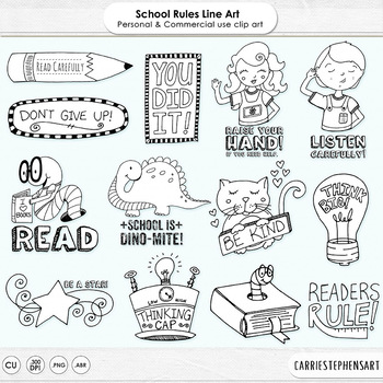 School Rules - Classroom Rules - PNG Digital Stamps & Phot