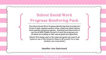 School Social Work Progress Monitoring Log Pack