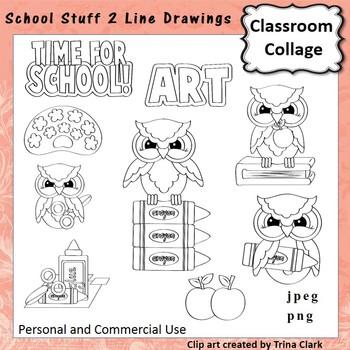 School Stuff 2 Clip Art  B/W  Line Drawings  personal & co