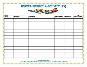 School Subject & Activity Log