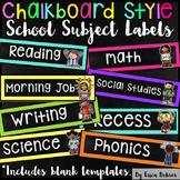 School Subject Labels: Chalkboard Brights