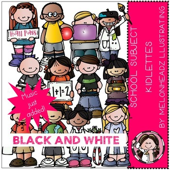 School Subject kidlettes by Melonheadz BLACK AND WHITE