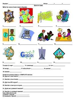 School Subjects or Classes Quiz