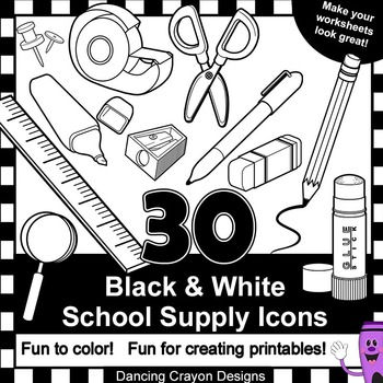 School Supplies Clip Art - 30 Black and White School Supply Icons