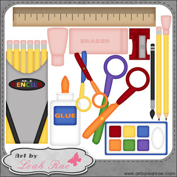 School Supplies 1 - Art by Leah Rae Clip Art & Line Art /