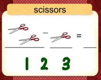 SMARTboard: School Supplies Basic Subtraction