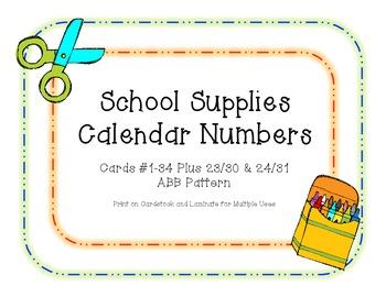 School Supplies Calendar Numbers