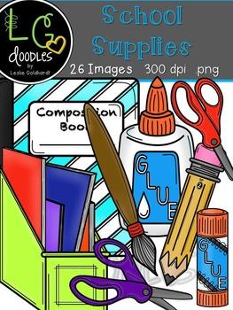 School Supplies Clip Art ~ by LG Doodles