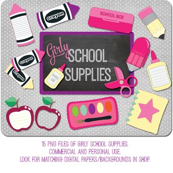 SALE- School Supplies Clip Art in Girly Colors